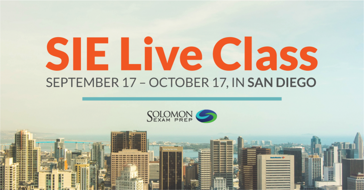 SIE Live Class - September 17-October 17, in San Diego